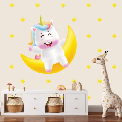 Unicorn with Moon Wall Sticker Wall Decal Stickers Fantasy Girls Bedroom Wall Art Cute Nursery