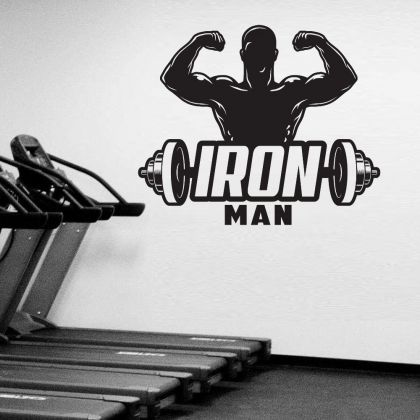 Iron Man Home Gym Fitness Wall Decal, Iron Man Weight Lifting Gym Room Decor, Fitness Home Gym Vinyl Wall Sticker