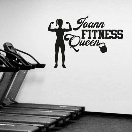 Customised Home Gym Fitness Wall Decal for Girls, Personalised Name Gym Room Decor, Fitness Queen Home Gym Vinyl Wall Sticker