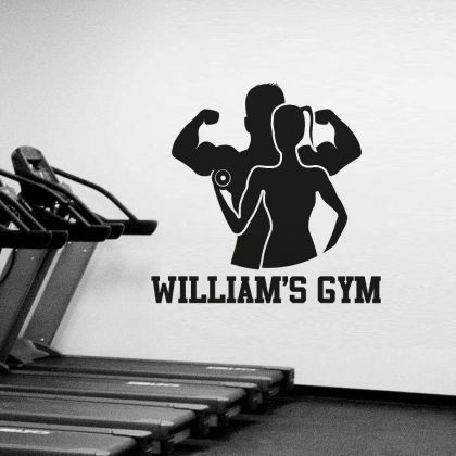 Customised Family Name Home Gym Fitness Wall Decal, Personalised Family Name Gym Room Decor, Fitness Home Gym Vinyl Wall Sticker