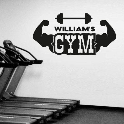 Personalized Name Home Gym Fitness Wall Decal, Custom Name Gym Room Decor, Home Gym Vinyl Wall Sticker