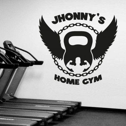 Personalized Name Body Builder Home Gym Fitness Wall Decal, Custom Name Gym Room Decor, Home Gym Vinyl Wall Sticker