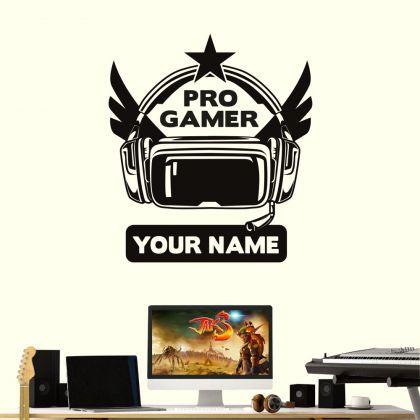 Gamer Pro player Wall Decal, never walk alone Wall art Decor, kids bedroom Vinyl Wall Decal