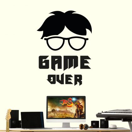 GAME OVER wall decals Gamer Teen Room Vinyl Wall Decal