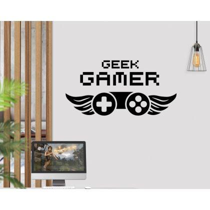 Gamer Geek Wall sticker Vinyl Mural Wallpaper For Kids Room Decoration
