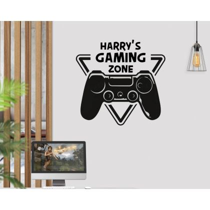 Custom Name Gaming Zone Controller Video Game Decal Sticker Wall Vinyl Decor