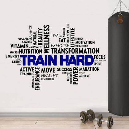 Train Hard Home Gym Wall Decal, Home Gym Vinyl Wall Sticker, Gym Room Decor