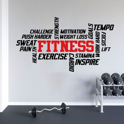 Fitness Quotes Home Gym Wall Stickers, Motivational Gym Vinyl Wall Sticker, Gym Room Wall Decals