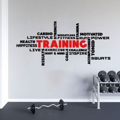 Training Fitness Quotes Home Gym Wall Decal, Motivational Gym Vinyl Wall Sticker, Gym Room Decor