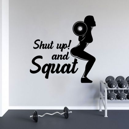 Squat Girls Home Gym Wall Decal, Home Gym Vinyl Wall Sticker, Gym Room Decor