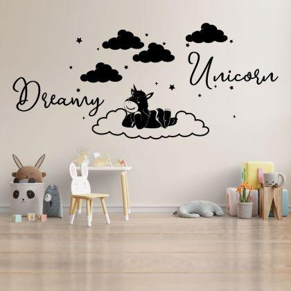 Dreamy Unicorn Home Wall decals, Kids wall Stickers, Kids room Decor