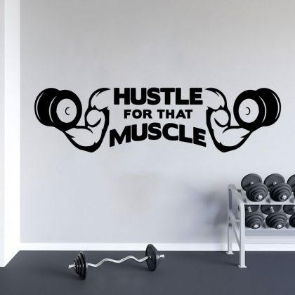 Hustle For That Muscle Home Gym Vinyl Wall Sticker, Home Gym Wall Sticker, Gym Room Decor