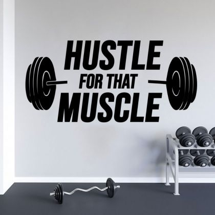 Hustle For That Muscle Home Gym Wall Decal, Home Gym Vinyl Wall Sticker, Gym Room Decor