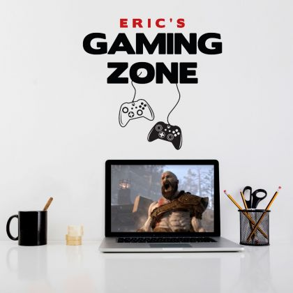 Custom Name Gaming Zone Wall Decal Sticker Gamer Room Vinyl Wall Decals