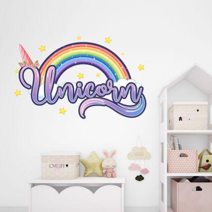 Stars Unicorn Horn Wall Decal Stickers Fantasy Girls Bedroom Wall Art Cute Nursery