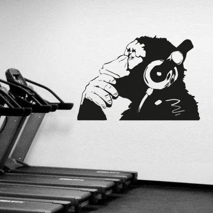 Thinking Monkey Vinyl Wall Decal Thinker Smart Decal - Street Thought Headphones Music Think Monkey Stickers