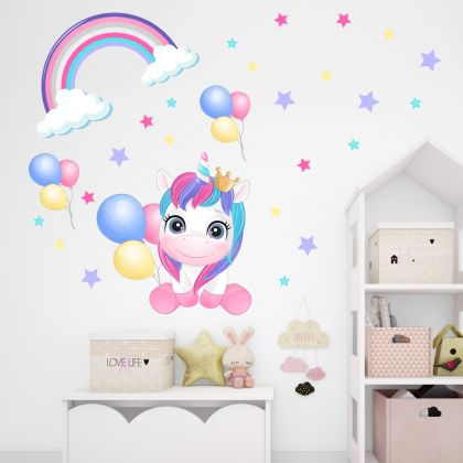Unicorn Rainbow Wall Decal Stickers Fantasy Girls Bedroom Wall Art Cute Nursery