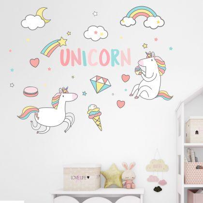 Unicorn Wall Decal Stickers Fantasy Girls Bedroom Wall Art Cute Nursery