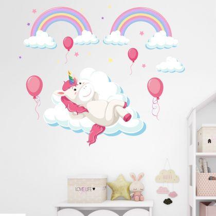 Unicorn in Clouds Wall Decal Stickers Fantasy Girls Bedroom Wall Art Cute Nursery