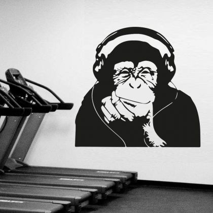Banksy Thinking Monkey with Headphones Vinyl Wall Decal DJ Monkey Thinker Smart Decal
