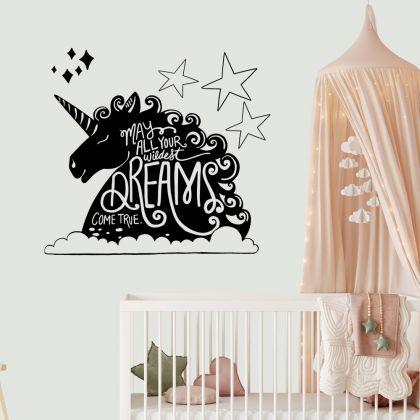 Unicorn Quote wall sticker, unicorn wall decal, Flower room decor, unicorn room décor