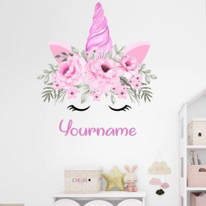 Custom Name Unicorn Horn wall sticker, unicorn wall decal, Flower room decor, unicorn room décor