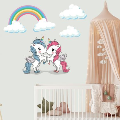 Clouds with Unicorn Horn Wall Decal Stickers Fantasy Girls Bedroom Wall Art Cute Nursery
