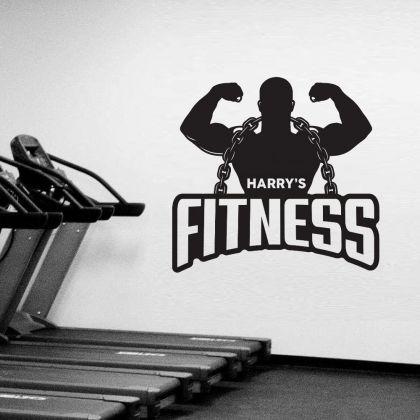 Personalized Home Gym Fitness Wall Decal, Custom Name Gym Room Decor, Home Gym Vinyl Wall Sticker