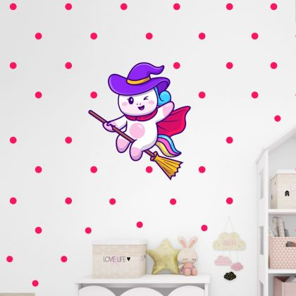 Flying Unicorn with Polka Dots Wall Decal Stickers Fantasy Girls Bedroom Wall Art Cute Nursery