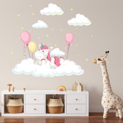 Unicorn Wall Sticker with Clouds Baloon Wall Decal Stickers Fantasy Girls Bedroom Wall Art Cute Nursery