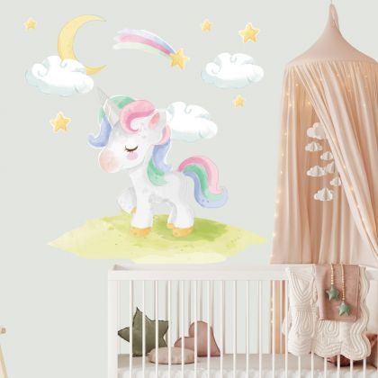 Watercolour Unicorn Wall Sticker with Clouds Wall Decal Stickers Fantasy Girls Bedroom Wall Art Cute Nursery