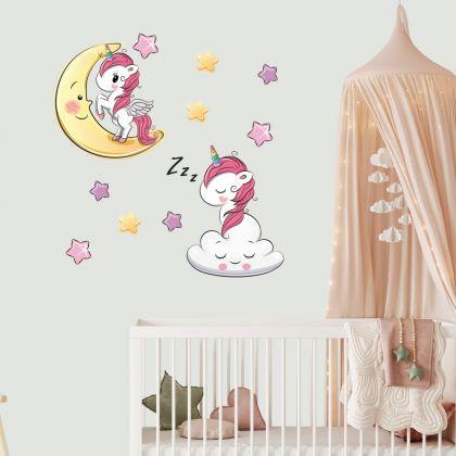 Unicorn Wall Sticker with Star Wall Decal Stickers Fantasy Girls Bedroom Wall Art Cute Nursery