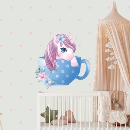 Teacup Unicorn Wall Sticker with Polka Dots Wall Decal Stickers Fantasy Girls Bedroom Wall Art Cute Nursery