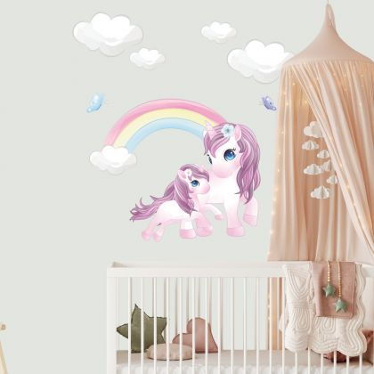 Unicorn Wall Sticker with Cloud and Rainbow Wall Decal Stickers Fantasy Girls Bedroom Wall Art Cute Nursery