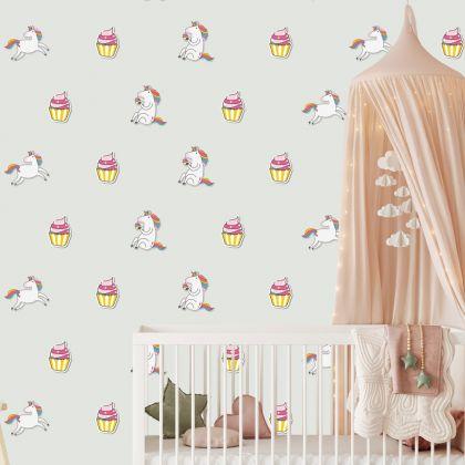 Unicorn with Cupcake Pattern Wall Decal Stickers Fantasy Girls Bedroom Wall Art Cute Nursery