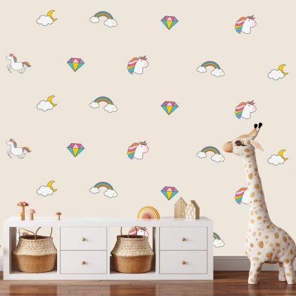 Unicorn Pattern Wall Decal Stickers Fantasy Girls Bedroom Wall Art Cute Nursery
