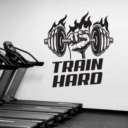 Train Hard Home Gym Fitness Wall Decal, Train Hard Gym Room Decor, Fitness Home Gym Vinyl Wall Sticker