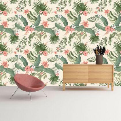 Vintage Floral Garden Removable Wallpaper, Vintage Wall Mural