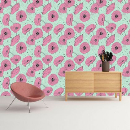 Floral Removable Wallpaper, Vintage Wall Mural