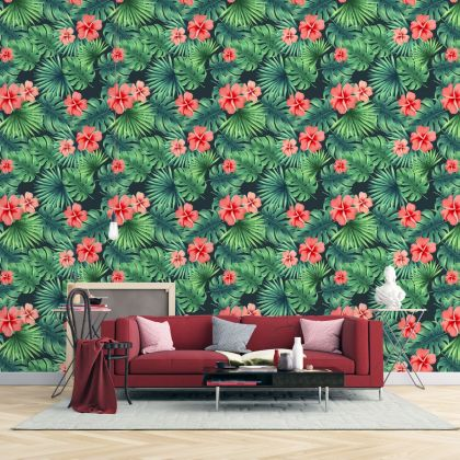Tropical Forest Hibiscus Removable Peel and Sticker Wallpaper