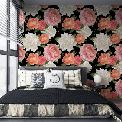 Dark Floral Roses with Non Metallic Golden Droppings Removable Wallpaper, Vintage Wall Mural