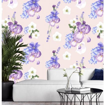 Purple Floral Removable Wallpaper, Vintage Wall Mural