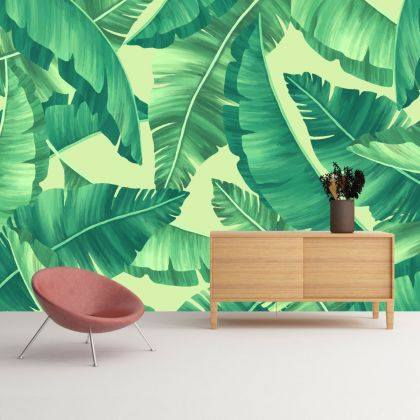 Green Banana Leaves wall decor, Tropical leaves removable wallpaper, Leaf wall mural
