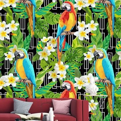 Tropical Forest Macaw parrot Removable Peel and Sticker Wallpaper