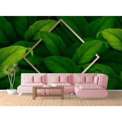 Green Leaves wall decor, Tropical leaves removable wallpaper, Leaf wall mural
