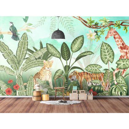 Tropical Forest Safari Jungle Animals Removable Wallpaper
