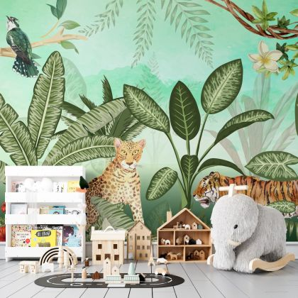 Tropical Forest Safari Jungle Animals Removable Wallpaper