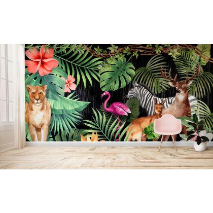 Tropical Forest Safari Jungle Animals Flamingo Removable Wallpaper