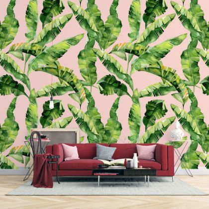 Banana Leaves wall decor, Tropical leaves removable wallpaper, Leaf wall mural