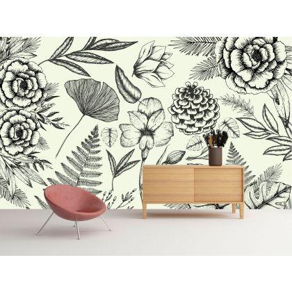 Vintage Botanical Tropical Plant Removable Wallpaper